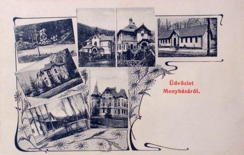 Menyháza:vasútállomás,forrás,villák.1906