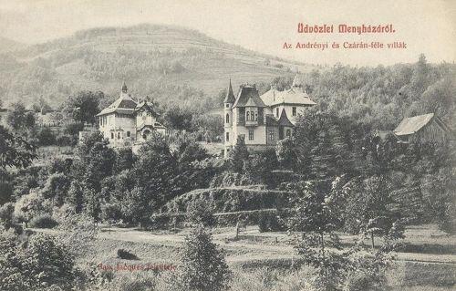 Menyháza:Andrényi és Czárán villák.1908