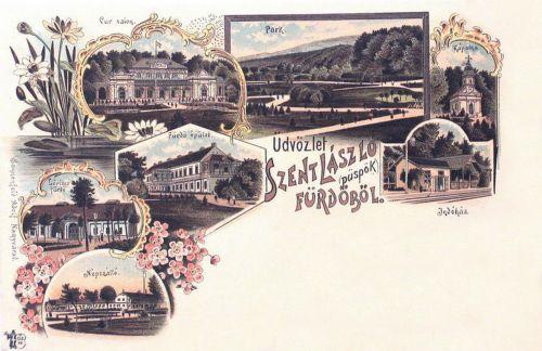 Püspökfürdő:Cursalon,Lőrincz fürdő,Népszálló,kápolna,vasútállomás.1898