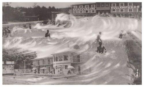 Püspökfürdő:Hullámfürdő a strandon.1938