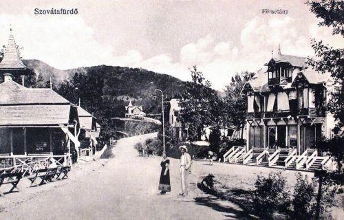 Szovátafürdő:Fő sétány a villákkal.1914