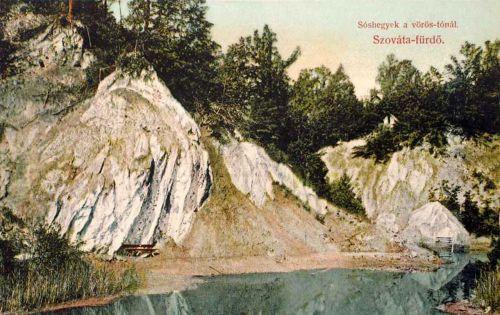 Szovátafürdő:sóhegyek a Vörös tónál.1916