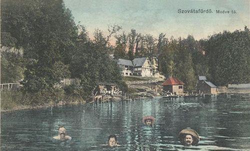 Szovátafürdő:Medve tó és fürdőzők.1910