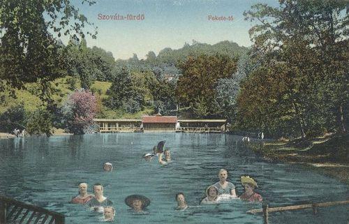 Szováta-fürdő:Fekete tó fürdőzőkkel.1913