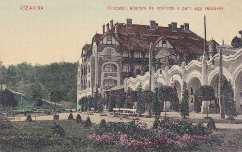 Vizakna:Kincstári szálloda és étterem a park egy részével.1911