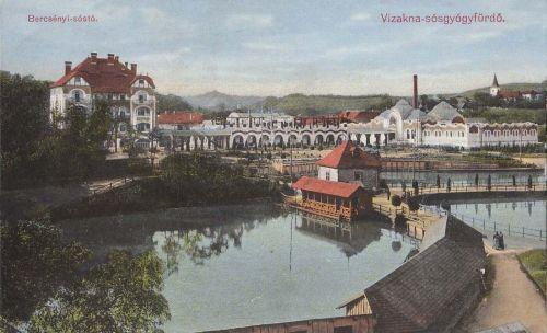 Vizakna:Bercsényi sós tó a szállodával.1913