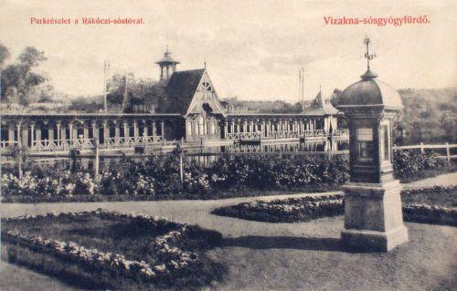 Vizakna sósgyógyfürdő:park részlet a Rákóczi tóval.1908
