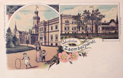 Zsombolya Jimbolia:gróf Csekonics Csitó kastélya,kőnyomat.1898