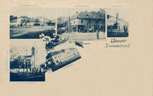 Zsombolya:gróf Csekonits kastély,templom,vendég fogadó,üzlet és szobor.1899