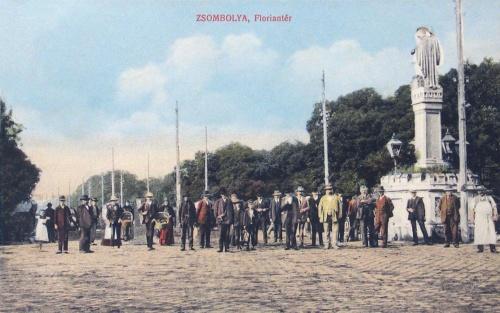Zsombolya:Flórián tér a szent Flórián szoborral.1913