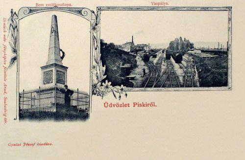 Piski:Bem József emlékoszlopa,vasúti pálya.1901