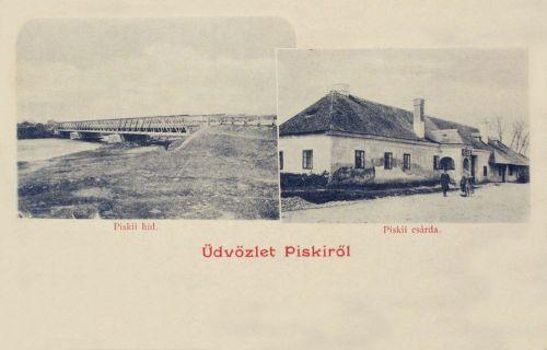 Piski:1848-as csárda és vasúti hid.1902