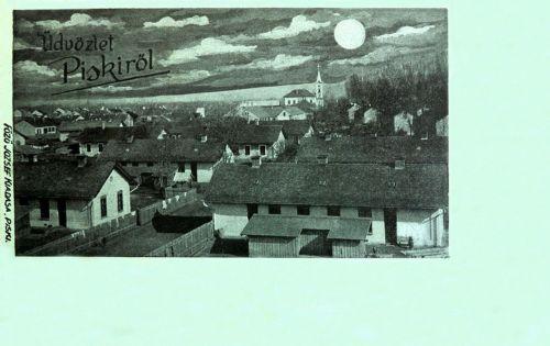 Piski:holdas látkép a templommal.1899