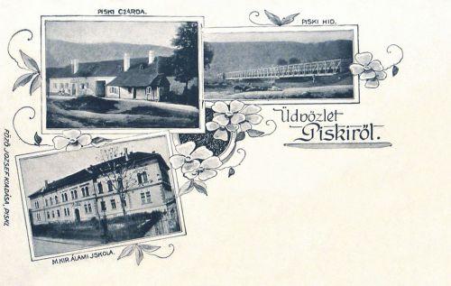 Piski:Magyar Királyi Állami iskola,csárda,vasúti hid.1900