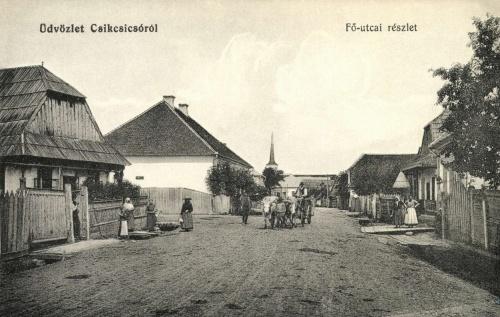 Csikcsicsó:Fő utcai részlet a templommal,1912.