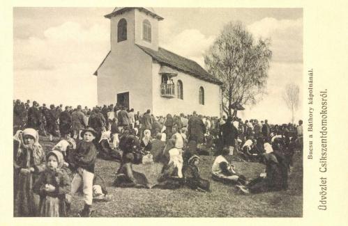 Csikszentdomokos:búcsú a Báthory András kápolnánál(Erdély biboros fejedelme),1909.