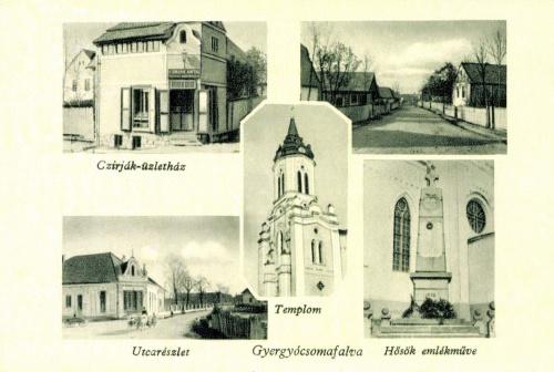 Gyergyócsomafalva:Czirják üzlet,hősök emlékműve,templom,1944.
