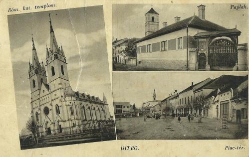 Gyergyóditró:templom,papilak,piac,1943.