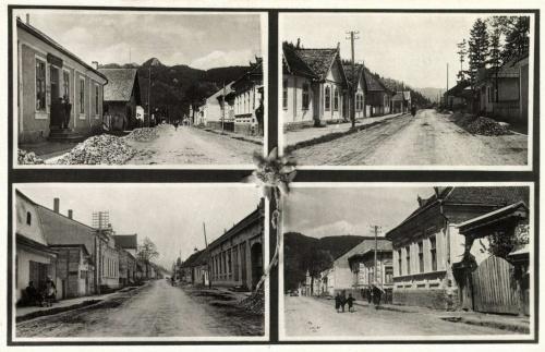 Tölgyes:részlet a ditró felé vezető útról az üzletekkel és Vereskővel,1942.