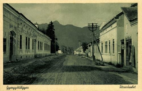 Gyergyótölgyes:utca részlet a Vereskővel a ditrói útról,1943.
