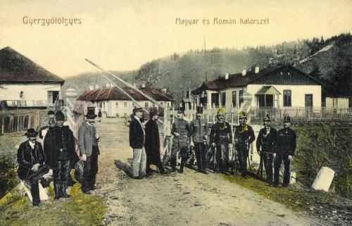 Gyergyótölgyes:magyar-román határ tisztekkel és csendőrökkel,1913.