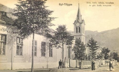 Gyergyótölgyes:katolikus elemi népiskola és görög katolikus templom,1910.