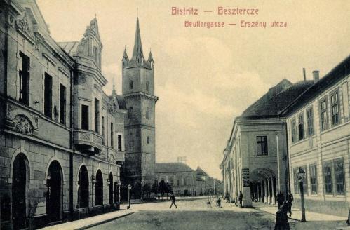 Beszterce:Erszény utca a templommal,1907