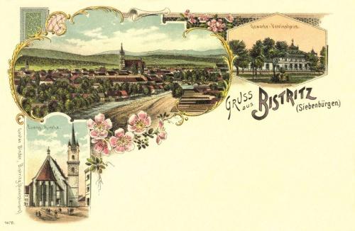 Beszterce-Bistritz-Bistrita:látkép az evangélikus templommal(kőnyomat),1897