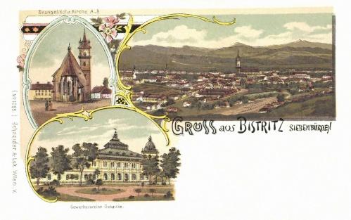 Beszterce:látkép az ev.templommal (litográfia),1898.
