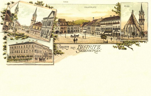 Beszterce:Főtér,ev.templom,Megyeháza,1899