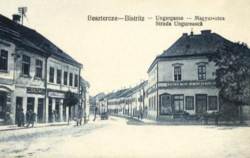 Beszterce:Magyar utca,Beszterce-Naszód Vármegye Zálogkölcsönző,1914