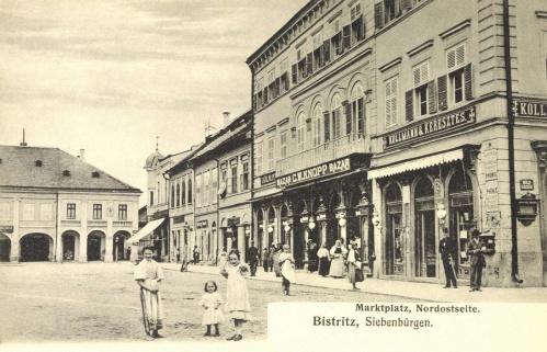 Beszterce,piac tér,bazár, Keresztes és Kollmann üzlete,1906