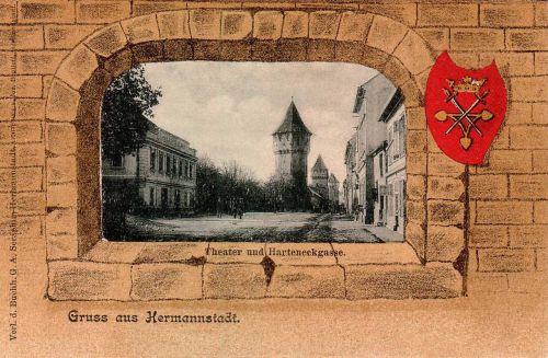 Szinház a bástyákkal és a város cimerével,1901.