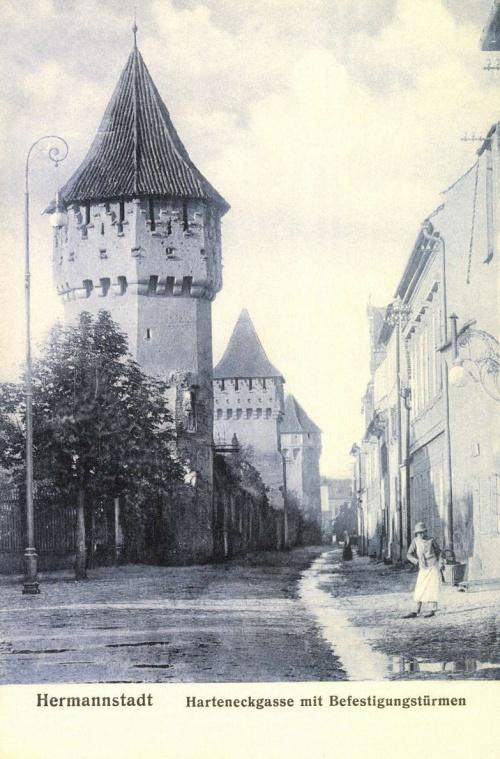 Nagyszeben:Harteneckgasse a bástyákkal,1906.
