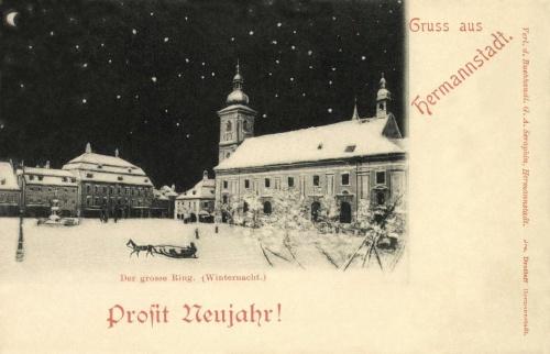 Nagyszeben:Nagy tér,Boldog  Új Évet!1898.