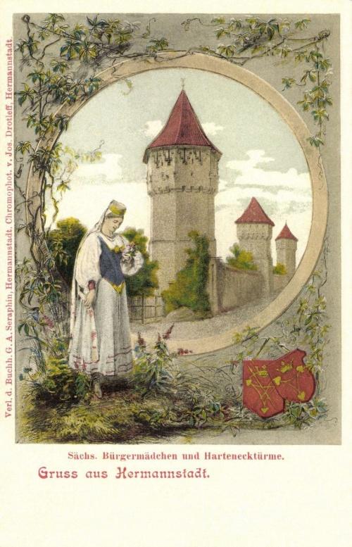 Szász polgári nő a bástyákkal és a város cimerével,1901.