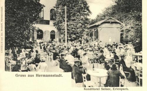 Nagyszeben:Seiser cukrászda és kávézó az Erlen parkban,1906.