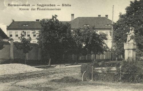 Nagyszeben:Ferences kolostor és diszkút,1915.
