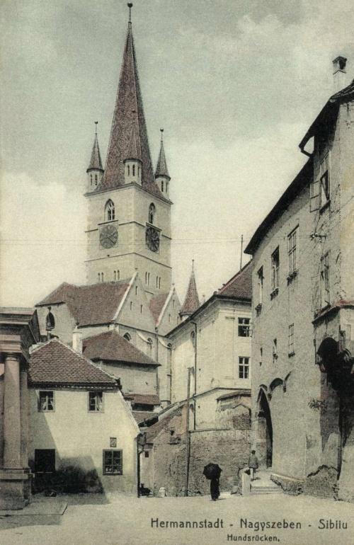 Nagyszeben:Hundsrücken az evangélikus templommal,1911.