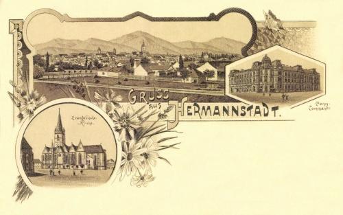 Nagyszeben:kőnyomat,evangélikus templom,hadtestparancsnokság,1898.