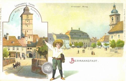 Nagy-tér és Kis-tér a várostoronnyal,(Leonhardis tinta reklám),1899.