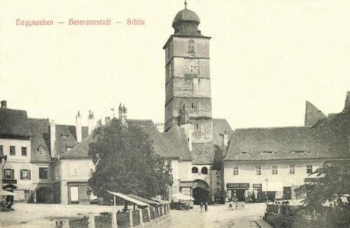 Nagyszeben:Kis-tér és várostorony,1908.
