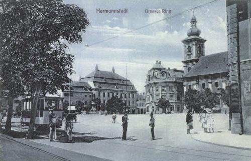 Nagyszeben:Nagypiac villamossal,1907.