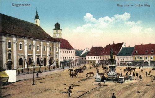 Nagyszeben:Nagypiac,katolikus templom és Szentháromság szobor,1915.