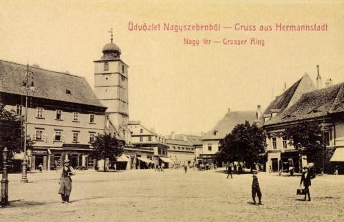 Nagyszeben:Nagy tér a várostoronnyal,1907.