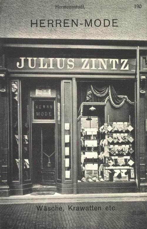 Nagyszeben:férfi ruha üzlet,nyakkendők,ingek,1906.