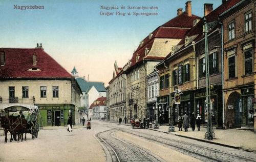 Nagyszeben:Nagypiac és Sarkantyú utca,1915.
