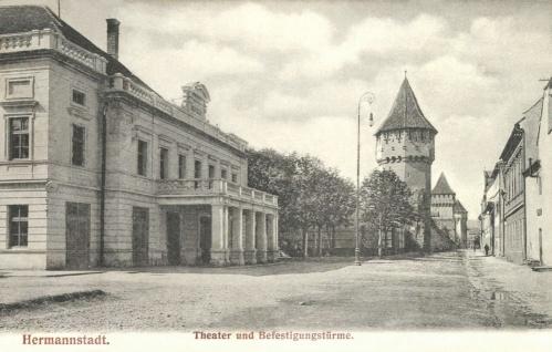 Nagyszeben:szinház és városfal a bástyákkal,1906.