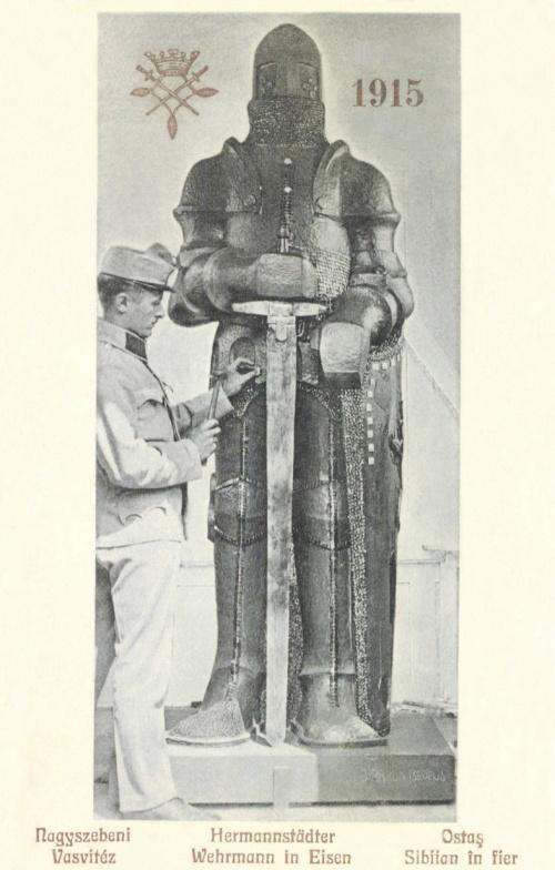 Nagyszeben:magyar honvéd Vasvitéz szobor,1915.