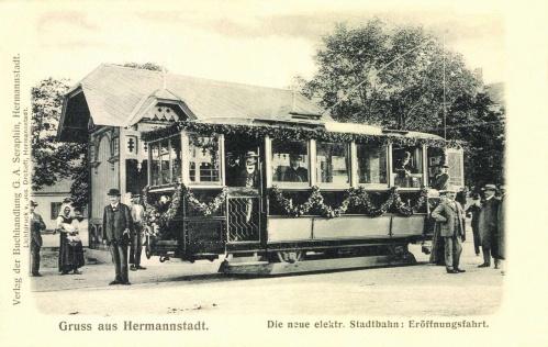 Nagyszeben:villamos avatási első útja,1905.